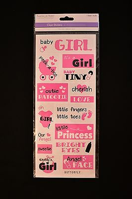 Baby Girl Pink quotes clear stickers scrapbook embellishments Forever in Time