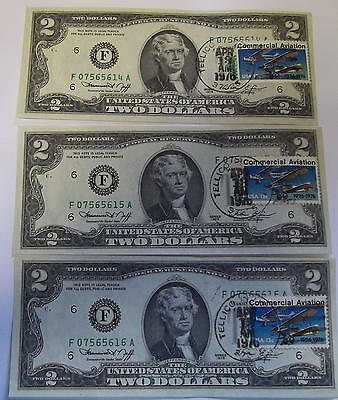 Us Currency Lot Of 3- Two Dollar Bills Consecutive Numbers Unc Free Shipping