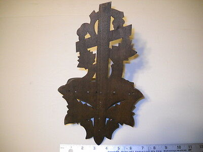 Victorian Wall Shelf with Carved Leaves and Cross in Walnut