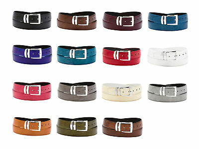Men's Bonded Leather Belt in Solid Colors LIZARD Skin Pattern Silver-Tone Buckle