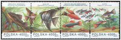 Timbres Poissons Pologne 3297/3300 ** année 1994 lot 19209
