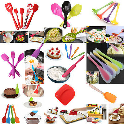 Silicone Spatulas Spoon Scraper Cake Cream Brush Butter Cooking Utensils Tools