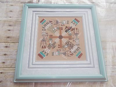 Authentic Navajo Sand Painting Wall Art Whirling Log Signed By Curtis