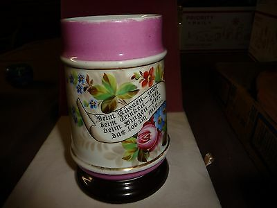 #1223 antique AS IS Stein Tankard Mug hand painted Flowers & Saying & image on b