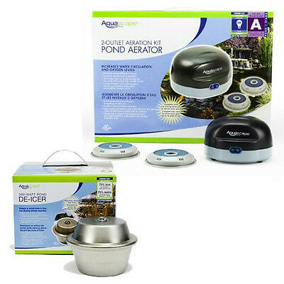 Aquascape 300 Watt Pond De-Icer & 2 Outlet Pond Aeration Aerator Kit