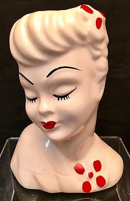 "ANTIQUE 5"" TALL LADY HEAD VASE WHITE w/ RED ACCENTS PLANTER GLAMOUR HEADVASE"