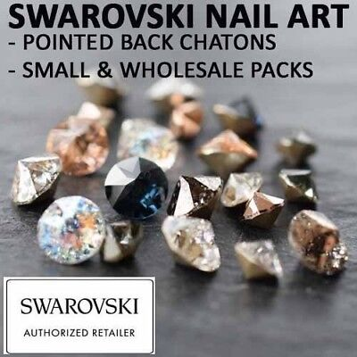 Genuine Swarovski Pointed Back Crystals Gems NAIL ART 2-4mm Patina & Opal Colors