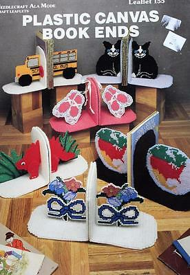 Plastic Canvas Book Ends Pattern Booklet - 5 Designs - Cats Dinosaurs Ballet