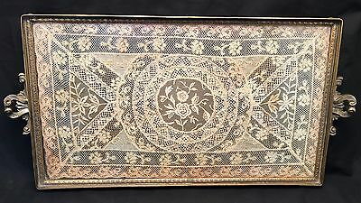 Antique Brass Dresser Tray w/ Glass & Lace Doily Insert  Made in England 1920's