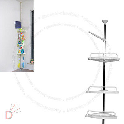 4 Tier Adjustable Telescopic Bathroom Corner Shower Shelf Rack Organiser UKDC