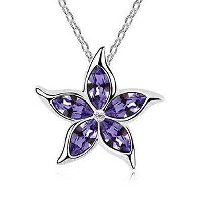 Fashion Womens Star Purple Crystal Rhinestone Silver Chain Pendant Necklace ~!!