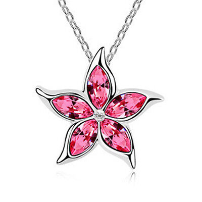 Fashion Womens Star Pink Crystal Rhinestone Silver Chain Pendant Necklace ~!!