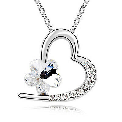 Fashion Womens Heart Clear Crystal Rhinestone Silver Chain Pendant Necklace ~!!