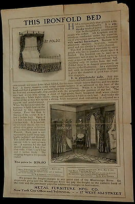 Victorian Advertising IRONFOLD BED from METAL FURNITURE CO Flyer MUST SEE ! RARE