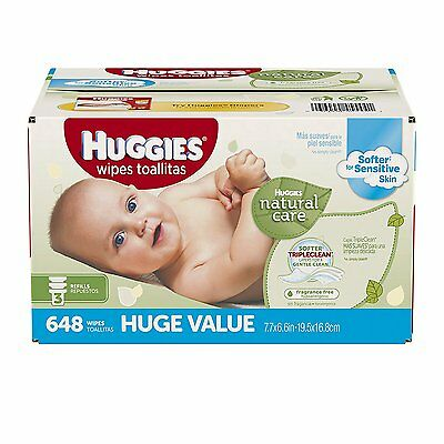 Baby Wipes Refill 648 Count Natural Fragrance Free Hypoallergenic Diaper Infant