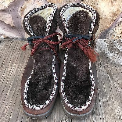 Vintage Leather SNOWLAND boots Brown & white Women's size 10 Faux Fur