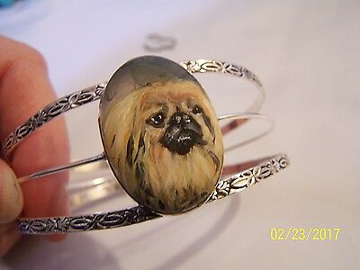 hand painted Pekingese on  semi precious gemstone silver plated bracelet