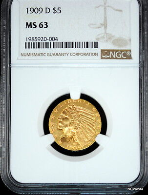 1909 D $5 Gold Indian Head Half Eagle Ngc Ms-63