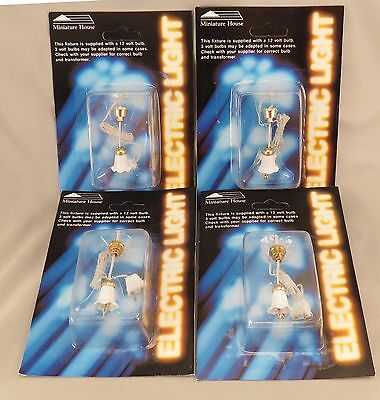 Dollhouse Miniature House White & Gold Tulip Hanging Lights Lamps Lot of 4 NIP