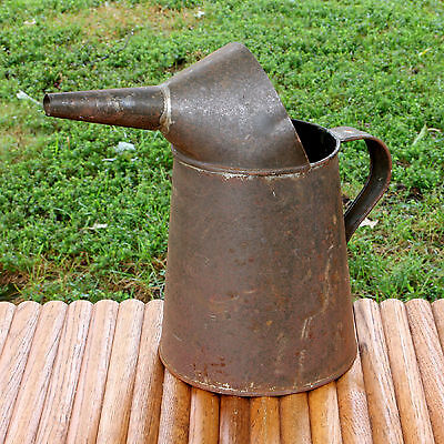 Vintage Tin Metal Oil Pitcher 2 Quart With Spout Rusty