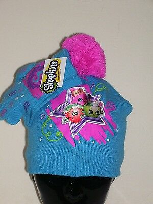 Shopkins Acrylic Beanie Knit Hat and Mittens Set Pom Pom On Top Mint in Bag