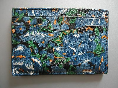 NWT Coach Credit Card Case Wallet Rose Meadow Floral Blue - F57989