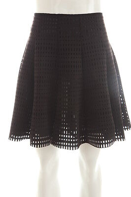 GLAMOROUS $68 NEW Womens 7649 Black Lazer Cut A-Line Above Knee Skirt M