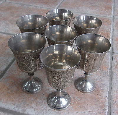 Vtg World Gift Z.Y. India Silver Tone Metal 7 Goblets Chalice Ornately Etched
