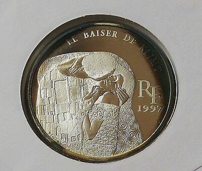 France 10 Francs 1.5 Euro € Silver 1997 Klimt- The Kiss Stamp Coin Fdc Set Cover