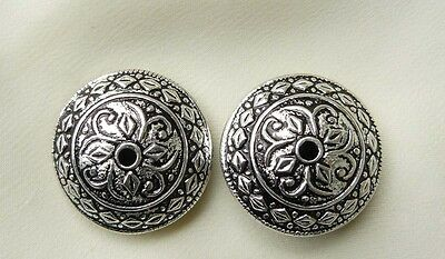 Sterling Silver Focal Beads or Buttons Large Round 23MM, 2-Single Center Hole