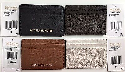 NWT Michael Kors Jet Set Travel Leather Card Holder Black Brown Luggage Vanilla