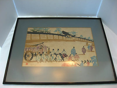 Vtg Japanese Woodblock Print 1960's Mikumo Mokuhansha Pencil-Signed & Numbered