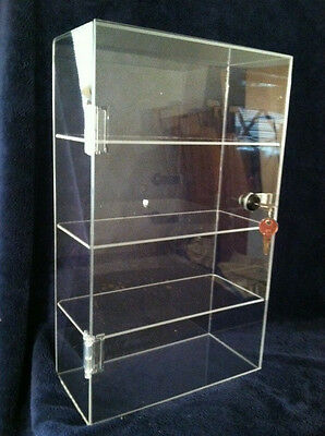 $$ SUMMER SPECIAL $$  Acrylic Lucite Countertop Display Case 10x4.5x16.5 Locking