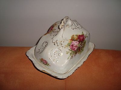 Gorgeous Antique Victorian Covered Porcelain Cheese Dish