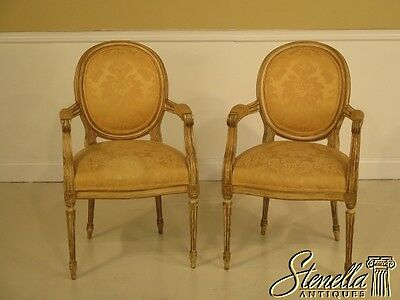 L40658: Pair CENTURY French Louis XV Style Paint Decorated Arm Chairs
