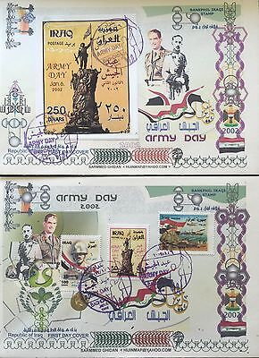 Iraq Stamps- FDCs-Army Day 2002-Complete Set Of 3 Stamps And A Sheet On 2 Covers