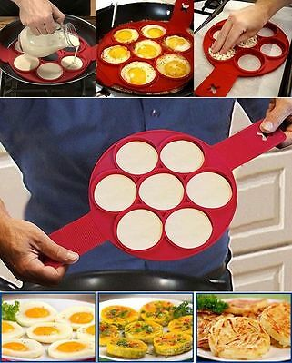 Non-Toxic Kitchen Non-Stick Silicone Baking Egg Ring Pancake Cooking Mould Hot F
