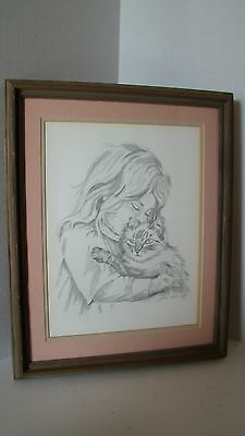 1983 Original Signed Pencil Drawing Of Girl With Cat Signed Jody Holt