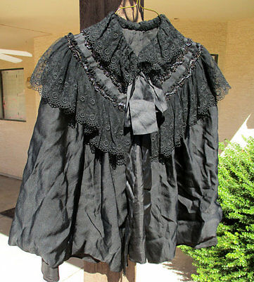 Antique Black Lace Beaded Mourning Capelet Cape Gothic Victorian Jet Beading