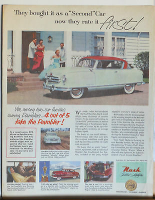 Vintage 1952 magazine ad for Nash - Golden Airflytes, Rambler photo, Rated first