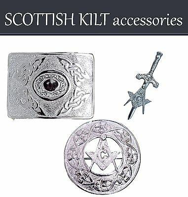 New Scottish Belt Buckle Set With Piper Plaid Brooch & Kilt Pin In Chrome Finish