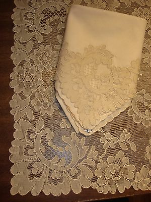 Beautiful Antique Unused 16pc Set French Alencon Lace 8 Placemats 8 Napkins Tags