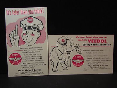 2 VTG Veedol Flying A Service Station mailer cards~gas~oil~sign~Rochester NY~NOS