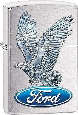 Zippo Ford Blue Oval Eagle Logo Brushed Chrome WindProof Lighter NEW 29296