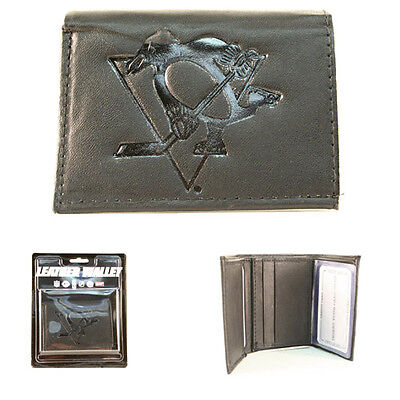 Pittsburgh Penguins Black Leather Tri-fold Wallet