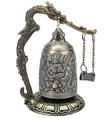 Amazing Vintage Style Bronze Lock Dragon Carved Asian Antique Bell  Home Decor