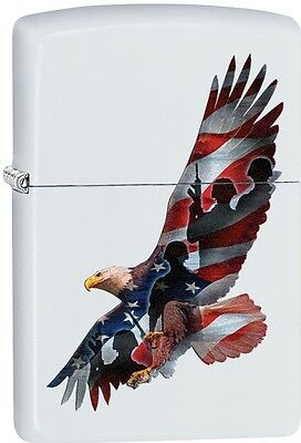 Zippo Eagle And Flag White Matte WindProof Lighter NEW 29418