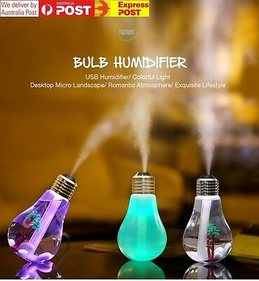 USB Light Bulb Humidifier | Colour Changing Novelty LED Night Light Home Office