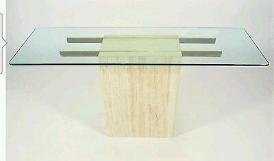 Mid Century Italian Travertine Brass and Glass Console Table By ELLO