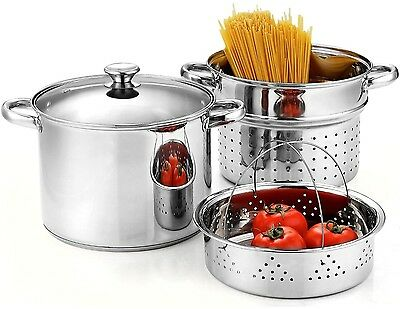 Cook N Home Stainless Steel 4-Piece Pasta Cooker/ Steamer Multi-pots With
